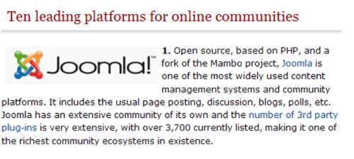 Joomla! ranks first