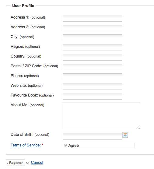 Archive the front end registration form now displays a link to the tos article fandeluxe Images