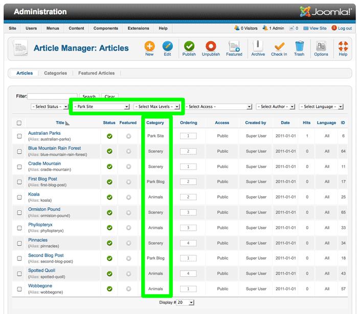 Joomla 2.5 - Rugalmasabb kategóriaszűrő a cikkezelőben - Joomlabs.hu