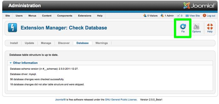 Joomla 2.5 - Adatbázis verziófrissítés gomb - Joomlabs.hu
