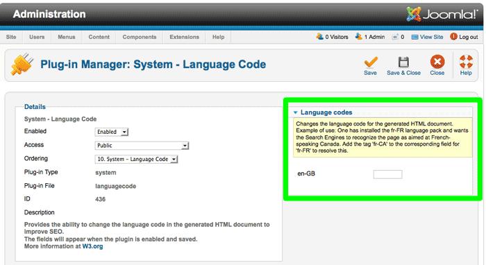 Joomla 2.5 - SEO fejlesztése: új rendszer-beépülő: nyelvkód - Joomlabs.hu