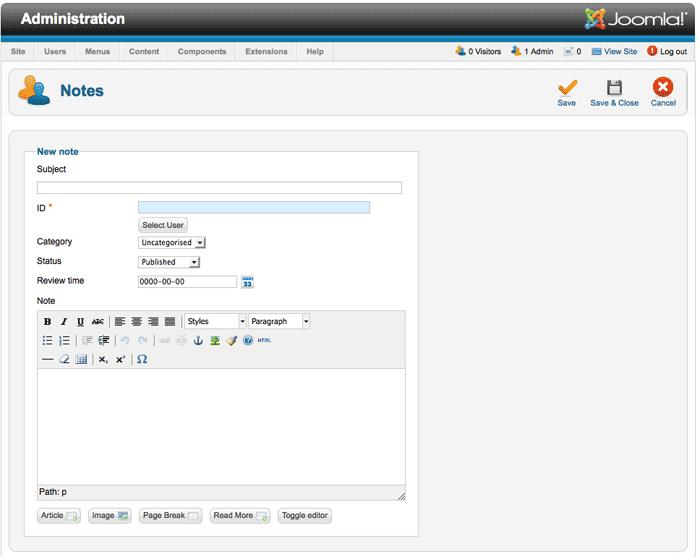 Joomla 2.5 - Felhasználó-jegyzetek - Joomlabs.hu