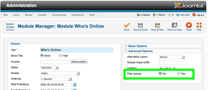 Joomla 2.5 - Online felhasználók modul szűrése csoportokra - Joomlabs.hu