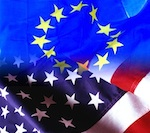 European Uniona and USA flags