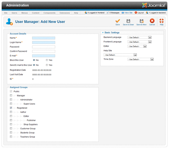 User Manager screen in Joomla 1.6.