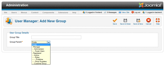 Add User Group screen.