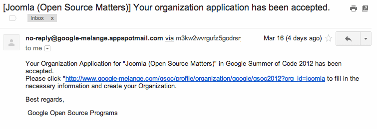 Joomla Approved for GSoC