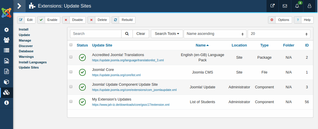 Joomla Extension Update sites